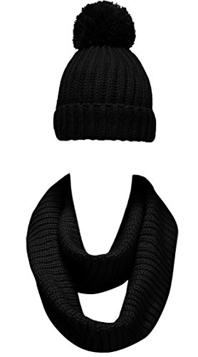 - NEOSAN Women Winter Thick Knit Infinity Loop Scarf And Pom Pom Hat Set Plain Black