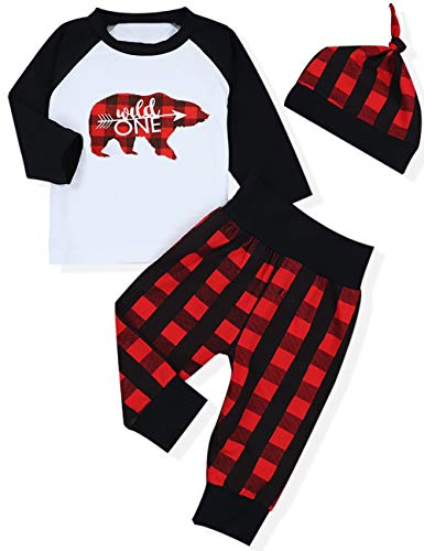 - Baby 1st Birthday Outfits Wild One Long Sleeve T-Shirt with Red Plaid Pant and Hat (A-Red+Black+White, 6-12 Months)