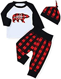 Newborn Baby Boy Girls Clothes Layette Set Long Sleeve Tops T-Shirt +Plaid Pants +Hat Christmas Outfits