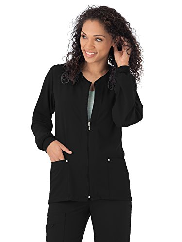 Classic Fit Collection by Jockey Women's V-Neck Zip Front Scrub Jacket Small Black