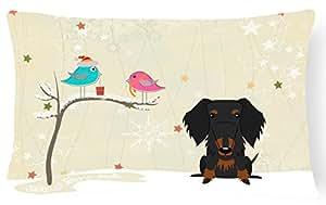 """Caroline tesoros del bb2599pw1216Regalos de Navidad entre amigos alambre pelo perro salchicha negro marrón Lienzo Tejido decorativo almohada, 12""""X 16"""" W, multicolor"""