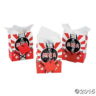 Ninja Warrior Small Gift Bags - 12 (Ninja Party Favor Box)