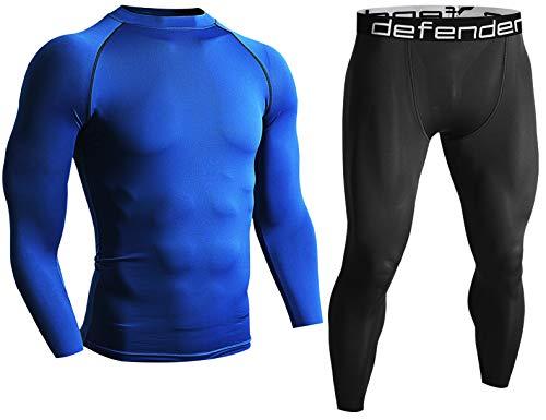 - Defender Men's Shirts & Pants Compression Set Under Tights Sports Fits Golf BLBB_2XL