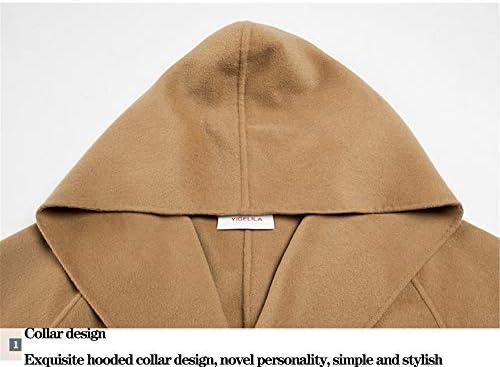 SANJIBAO Giacca Lunga Femminile Cappotto Mantello Giacca a Vento Invernale Donna Autunno Caldo con Cappello Beige (XS-M),S