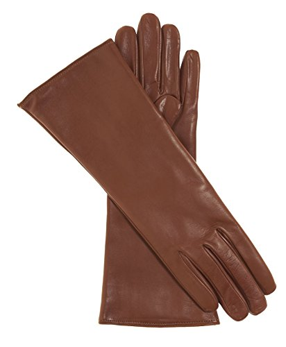 Fratelli Orsini Women's Italian ''4 Button Length'' Cashmere Lined Leather Gloves Size 7 Color Medium Brown by Fratelli Orsini