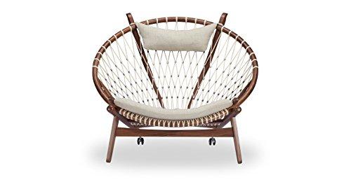 Kardiel Circle Hoop Modern Lounge Chair, Urban Hemp Twill/Walnut