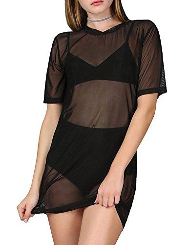 WuLun Women's Sexy Cover Ups Short Sleeve See Through Gauze Mesh T-Shirt Dress (XX-Large, Black01)]()