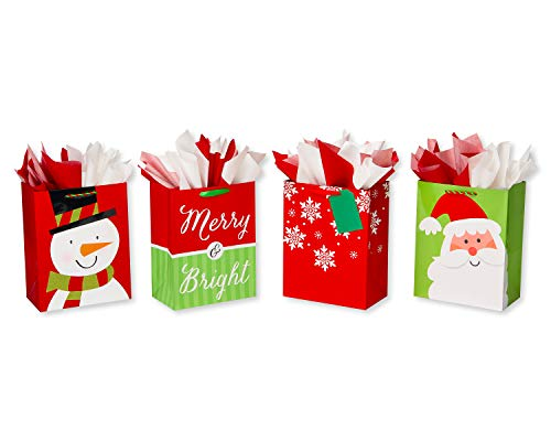 American Greetings Large Christmas Gift Bags with Tissue Paper Bundle; 4 Gift Bags and 20 Sheets of Tissue Paper]()