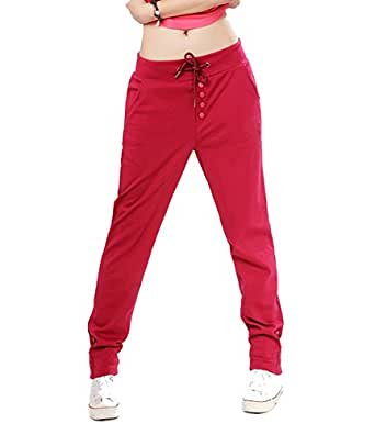 EUDORA Women's Fall Button Mid-Rise Close-fitting Casual Sports Trousers Pants XXL Red