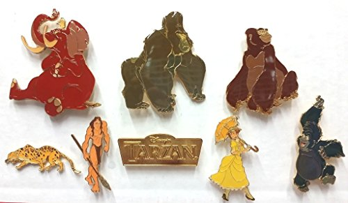 Disney Tarzan Rare Limited Edition 8 Oversized Pins - Pin Set Tarzan, Jane, Kala, Kerchak, Terk, Tantor, The leopard - Oversize Pin