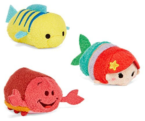 Disney Little Mermaid Tsum Tsum Mini Set of 3 - Ariel Flounder Sebastian 3.5 inch Plush (The Little Mermaid Tsum Tsum)