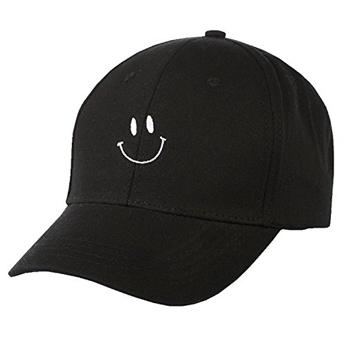 Cap Face Happy (FUNY Cotton Smile Face Embroidery Snapback Couple Hat Adjuatable Baseball Cap (Black))