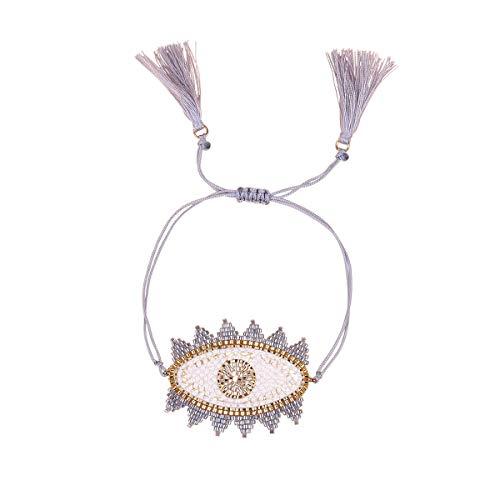 Nicole Jewelry Miyuki Seed Beads Handmade Big Evil Eye Strand Bracelet (Grey)