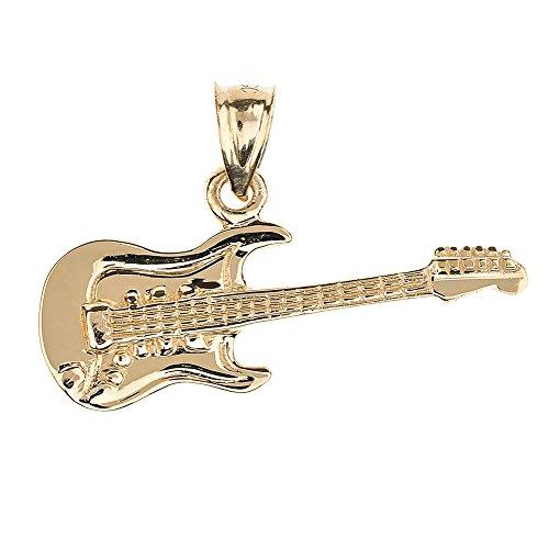 Collier Pendentif Solide 14 ct Or Jaune Guitare Électrique Musique (Livré avec une 45cm Chaîne)