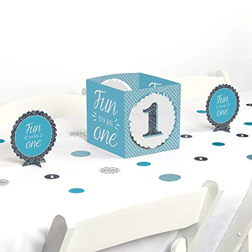 Big Dot of Happiness 1st Birthday Boy - Fun to be One - First Birthday Party Centerpiece & Table Decoration Kit