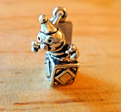 Sterling Silver 3D 13x18mm Jack in The Box