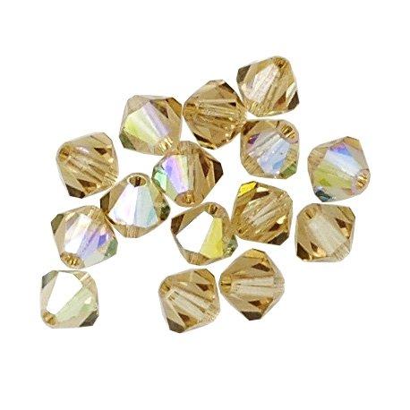 100 pcs 3mm Swarovski 5301 Crystal Bicone Beads,Light Colorado Topaz AB, SW-5301 Colorado Topaz Swarovski Crystal Beads