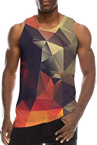 Vest Shirt for Young Men's Teen Boys School Student Tank Tops Sweatshirt 3D Print Red White Diamond Cool Gym Workout Undershirt Fancy Loose Fit Jersey Quick-Dry Ringer Running Surfing Casual Tshirts