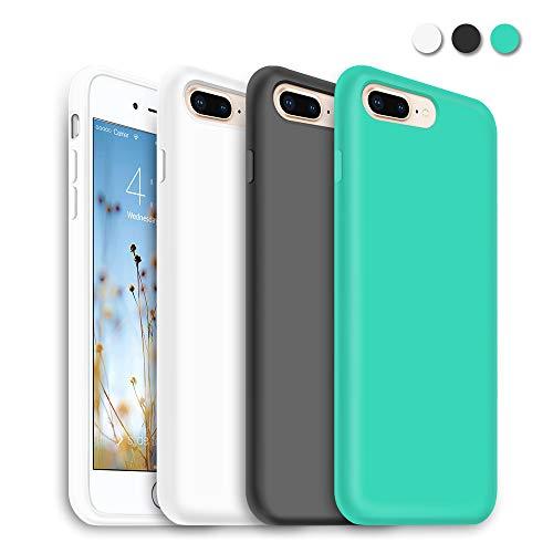 (3 Pack) iPhone 8 Plus Case Slim, iPhone 7 Plus Slim Case, Liquid Thinnest Silicone Gel Rubber Case Super Soft Cushion Compatible with iPhone 8 Plus(2017) iPhone 7 Plus(2016), Black,White,Mint Green