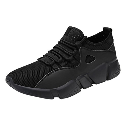 AIMTOPPY Men Solid Cross Tied Round Toe Mesh Gym Shoes Running Shoes Casual Shoes (US:9, Black)