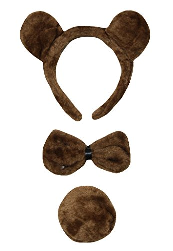 Petitebella Brown Bear Headband Bowtie Tail Unisex Children 3pc Costume (One Size) ()