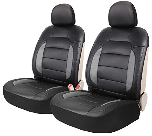 Leader Accessories Mustang Platimun 2 Sideless Leather Seat Covers Universal for Car Truck SUV Front Seats - Mustang Leather Seats