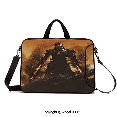 (AngelDOU Customized Neoprene Printed Laptop Bag Notebook Handbag Robot Warrior Terminator at War Fire Sword Weapon Paint Style Futuristic Compatible with mac air mi pro/Lenovo/asus/acer Tan and)