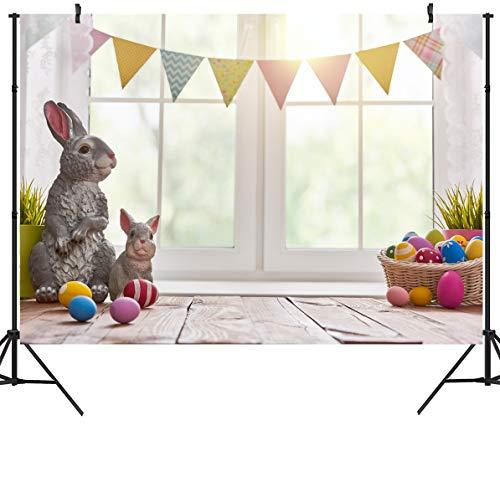 Duluda 7x5ft Easter Day Bunny Vinyl Photography Backdrop Eggs Wood Floor Photo Background Studio Prop FH09]()
