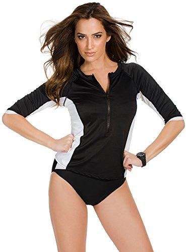 Miraclesuit Women's Miraclesuit So It Seams Rash Guard Top Black/White Rash Guard Shirt 8