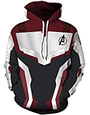 Leezeshaw 3D Captain Marvel Cosplay Costume Pullover Hoodies Hooded Sweatshirt Superhero Patterned Jumpers with Pockets for Mens Womens S-3XL