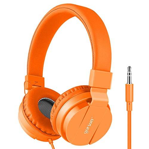 Kids Headphones, gorsun Lightweight Stereo Portable Wired Headphones for Kids Adults Adjustable Headband Headset for Cellphones Smartphones iPhone Laptop Computer Mp3/4 Earphones(Orange)