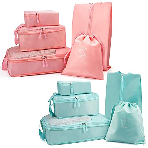 Packing Cubes (2 Sets/10 Piece)- JuneBugz Compression Travel Cubes, Light Weight Luggage/Suitcase Organizer with Shoe Bag| Space Saver Travel Accessory for Carry-on/Back Packs- (Tiffany Blue/Pink) ()