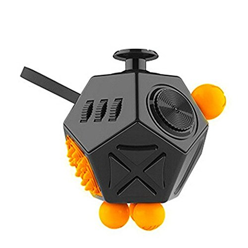 Coopei Fidget toys Cube for Fidgeters! Stress Relief Anxiety Attention Desk Toy for Adult and Children (12 Sided- Black)