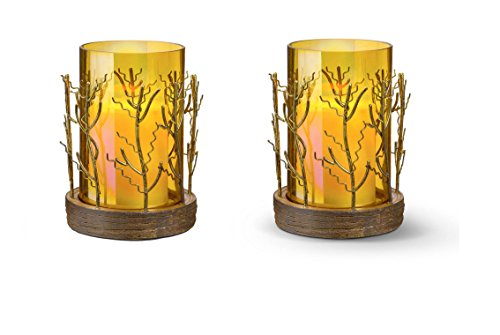 Set Of Two Grasslands Road Branches Amber Glass Candleholders