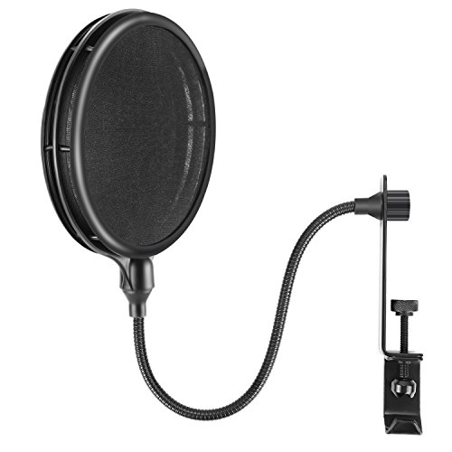 Dual Voice Ribbon Microphone (Neewer NW-019 Dual Layer Microphone Pop Filter with Flexible Gooseneck Extendable Metal Clamp Arm, Soft Nylon Filter for USB, Dynamic, Ribbon Microphones Like Blue Yeti Blue Spark Snowball Samson C01U)