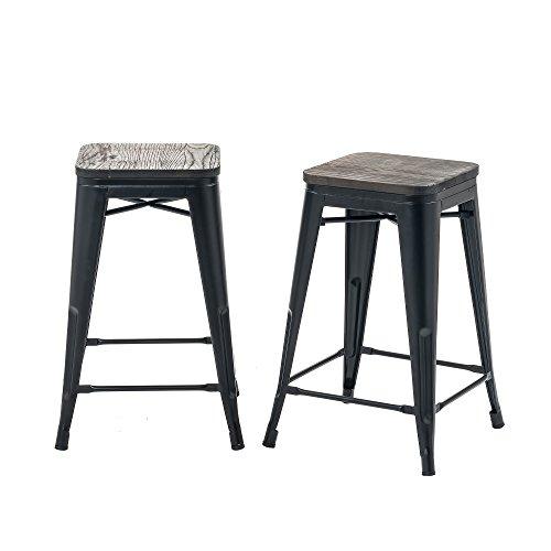 Buschman Set of 2 Matte Black Wooden Seat 24 Inch Counter Height Metal Bar Stools, Indoor/Outdoor, Stackable ()