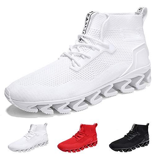 FOVSMO Springblade Sports Sneakers for Men Mesh Breathable Fashion Youth Big Boys Trail Walking Shoes Black White Red(1827bai42)