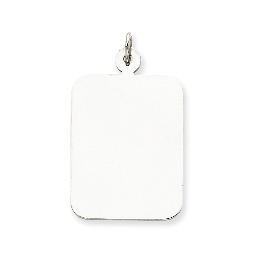 LavaFashion Sterling Silver Engravable Rectangle Disc Charm Necklace 18