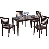 Target Marketing Systems 5 Piece Shaker Dining Set with 4 Slat Back Chairs and a Rectangular Table, Espresso