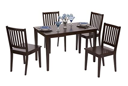 Target Marketing Systems 5 Piece Shaker Dining Set With 4 Slat Back Chairs  And A Rectangular