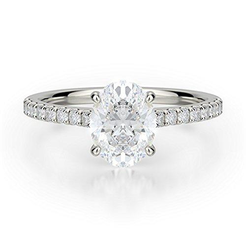 18k White Gold Moissanite Ring - Ella Rose 1.50ct Oval Forever One Colorless Moissanite Engagement Ring in 18K White Gold