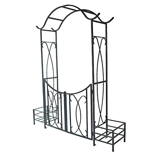 (AXXONN Garden Arbor with Gate and Planter Holders)