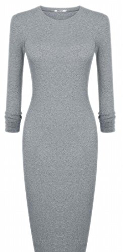 Grey Long Sleeve Women's Jaycargogo Round Bodycon Neck Basic Solid Dress nzxqAZx