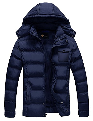 Coofandy Men's Winter Lightweight Thicken Cotton Padded Coat Puffer Jacket with Removable Hood