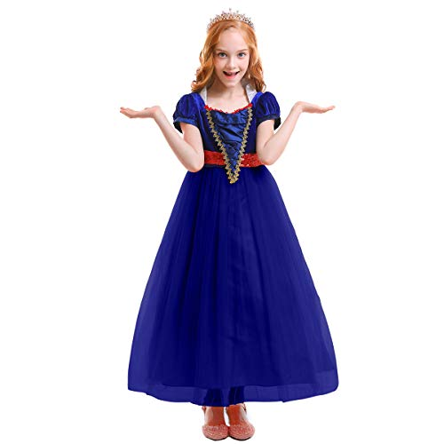 FYMNSI Girls Snow White Halloween Costume Fairytale Princess Dress Up Cosplay Party Ball Evening Gown Blue 5-6