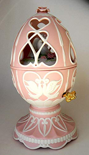 Avon Porcelain Egg - Avon 2003 Lovebirds Musical Porcelain Egg Pink