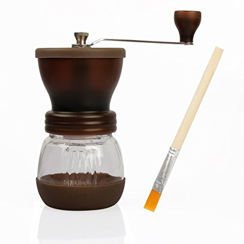 RC Manual Burr Coffee Grinders, Mini Hand Coffee Bean Grinder Crank Coffee Spice Grinding Mill 120g with Brush & Lid