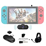 Gulikit Route+ Pro Support in-Game Voice Chat aptX Low Latency Mini USB C Wireless Audio Adapter Bluetooth Transmitter w/U-type Connector Compatible for Nintendo Switch, Wireless Gaming Headphones etc