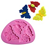 LNGRY Cake Mould, 3D DIY Butterfly Shape Silicone Fondant Cake Cookie Mold Decorating Chocolate Bakeware Mould Baking Tools Simple Dessert Tools (pink)