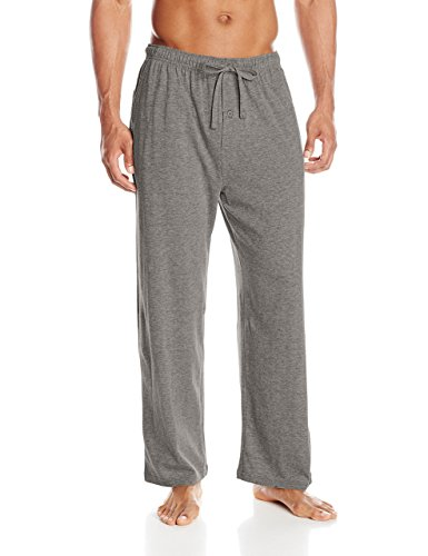 Woven Elastic Knit Waist Pants - Fruit of the Loom Men's Extended Sizes Jersey Knit Sleep Pant, Grey Heather, Large